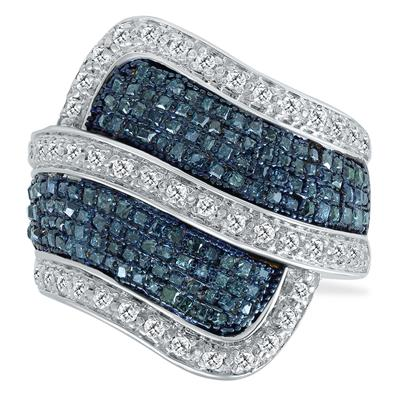1 Carat TW Blue and White Diamond Ring in .925 Sterling Silver