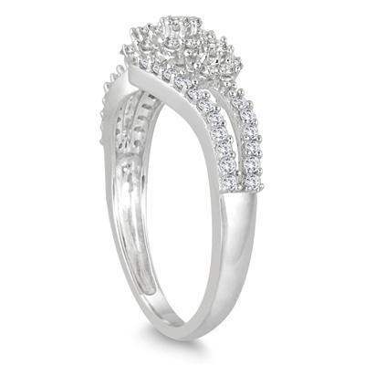 1/2 Carat TW Diamond Three Stone Ring in 10K White Gold