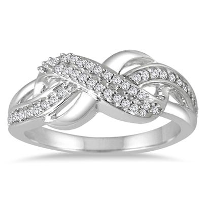1/5 Carat TW Diamond Infinity Fashion Ring in 10K White Gold