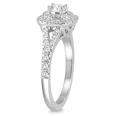 3/4 Carat TW Diamond Double Halo Engagement Ring in 14K White Gold