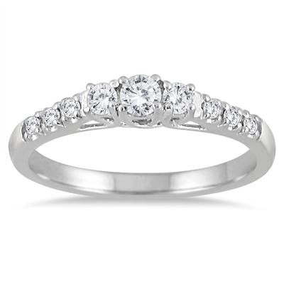 1/3 Carat TW Diamond Three Stone Engagement Ring in 10K White Gold
