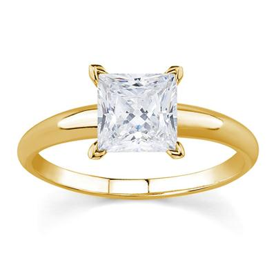 3/8 Carat Princess Diamond Solitaire Ring in 14K Yellow Gold