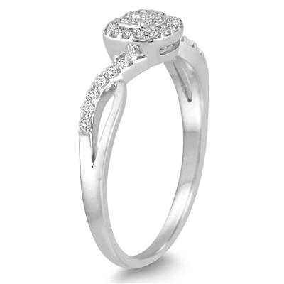 1/5 Carat TW Diamond Halo Twist Ring in 10K White Gold