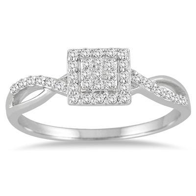 1/5 Carat TW Diamond Square Halo Twist Ring in 10K White Gold