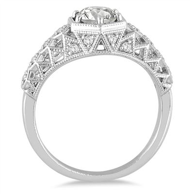 AGS Certified 1 1/6 Carat TW Diamond Engagement Ring in 14K White Gold (J-K Color, I2-I3 Clarity)