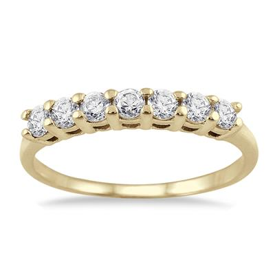 1/2 Carat TW Seven Stone Diamond Wedding Band in 10K Yellow Gold