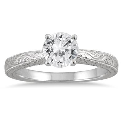 AGS Certified 1 Carat Diamond Solitaire Engraved Ring in 14K White Gold (H-I Color, I1-I2 Clarity)