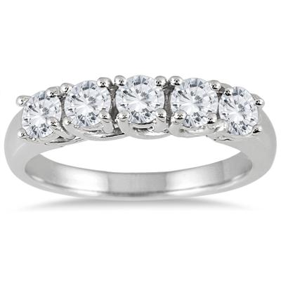 1 Carat TW Five Stone Diamond Wedding Band in 14K White Gold