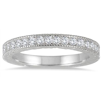 1/3 Carat TW Diamond Engraved Antique Styled Channel Band in 10K White Gold