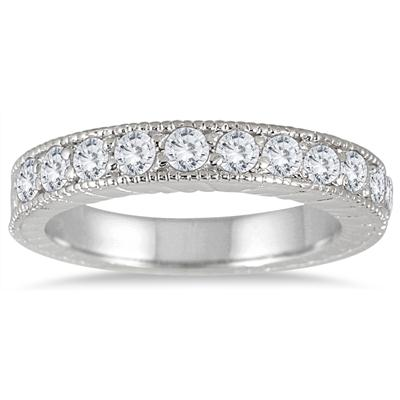 1/2 Carat TW Antique Styled Engraved Diamond Band in 10K White Gold