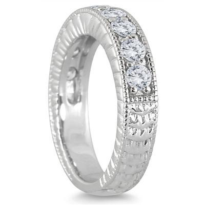 1 Carat TW Diamond Engraved Antique Ring in 10K White Gold
