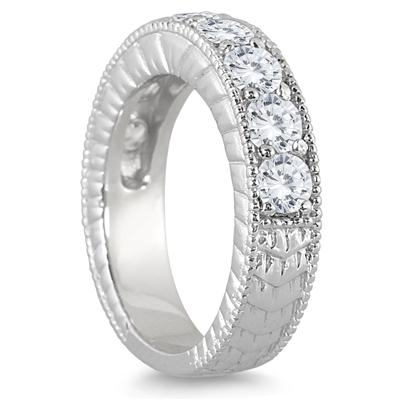 1 1/2 Carat TW Diamond Engraved Antique Ring in 10K White Gold