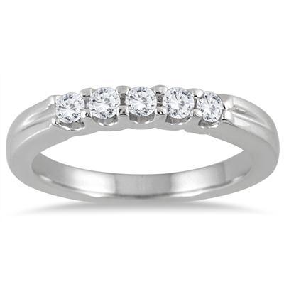 1/4 Carat TW Five Stone Diamond Wedding Band in 14K White Gold