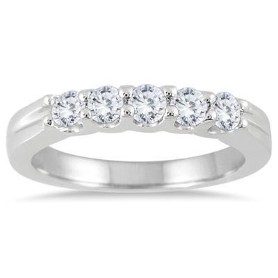 1/2 Carat TW Five Stone Diamond Wedding Band in 14K White Gold