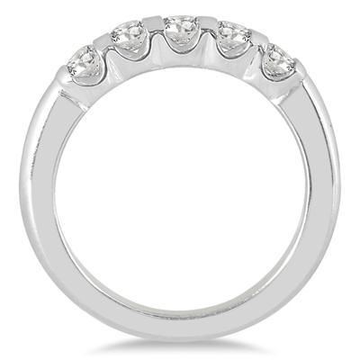 1/2 Carat TW Five Stone Bar Set Diamond Wedding Band in 14K White Gold