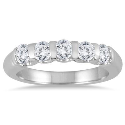 3/4 Carat TW Five Stone Diamond Wedding Band in 14K White Gold