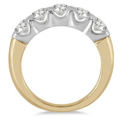 1 Carat TW Five Stone Diamond Wedding Band in 14K Two Tone Gold