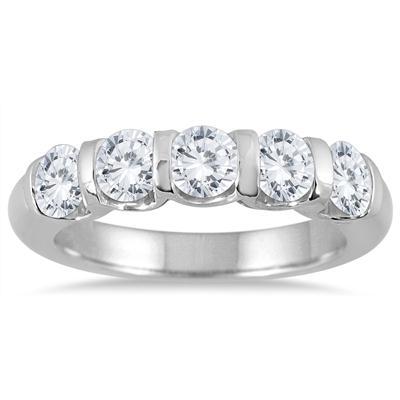 1 1/2 Carat TW Five Stone Diamond Wedding Band in 14K White Gold