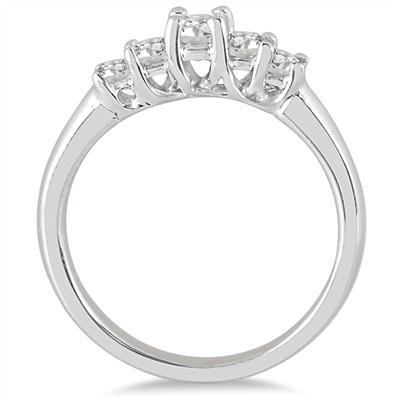 1/2 Carat TW Five Stone Diamond Wedding Band in 10K White Gold
