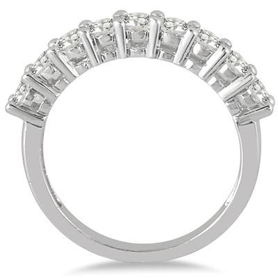 1/2 Carat TW Diamond 9 Stone Wedding Band in 10K White Gold