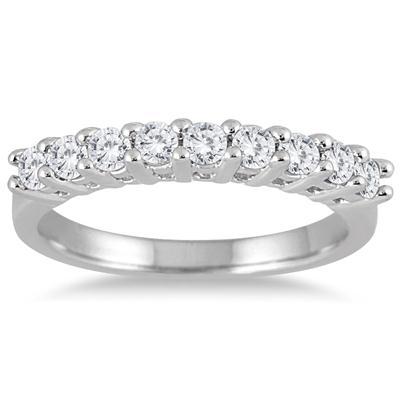 1 Carat TW 9 Stone Diamond Wedding Band in 10K White Gold RGF562218