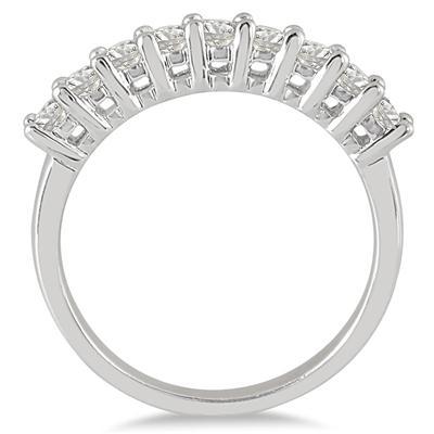 1 Carat TW 9 Stone Diamond Wedding Band in 10K White Gold