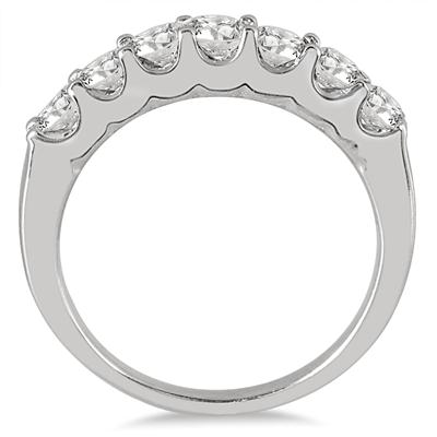 1 Carat TW Seven Stone Diamond Wedding Band in 14K White Gold