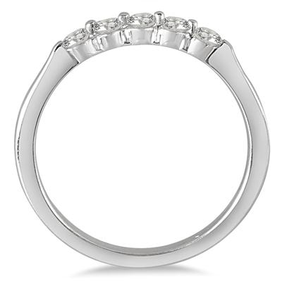 1/4 Carat TW Five Stone Diamond Wedding Band in 10K White Gold