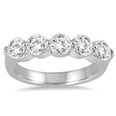 1 1/2 Carat TW Five Stone Diamond Wedding Band in 10K White Gold