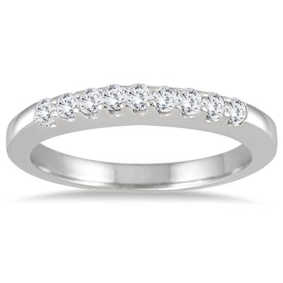 1/4 Carat TW Nine Stone Diamond Wedding Band in 10K White Gold