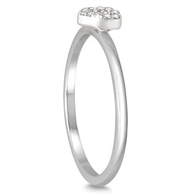 1/10 Carat TW Diamond Heart Stackable Ring in 14K White Gold