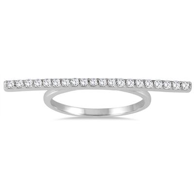 1/3 Carat TW Diamond Bar Ring in 14K White Gold