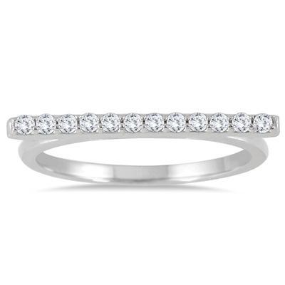 1/5 Carat TW Bar Diamond Ring in 14K White Gold