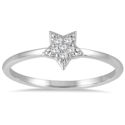 Stackable Star Diamond Accent Ring 14k White Gold