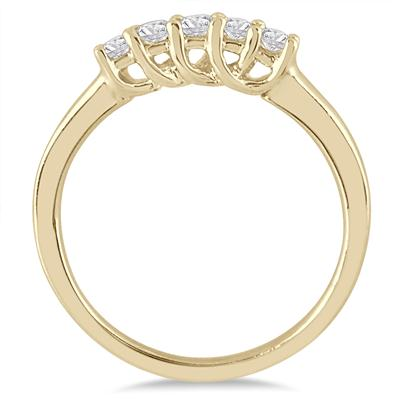 1/4 Carat TW Five Stone Diamond Wedding Band in 14K Yellow Gold