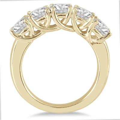 2 1/2 Carat TW Five Stone Diamond Wedding Band in 14K Yellow Gold