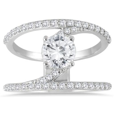 AGS Certified 1 3/8 Carat TW Open Diamond Ring in 14K White Gold (J-K Color, I2-I3 Clarity)