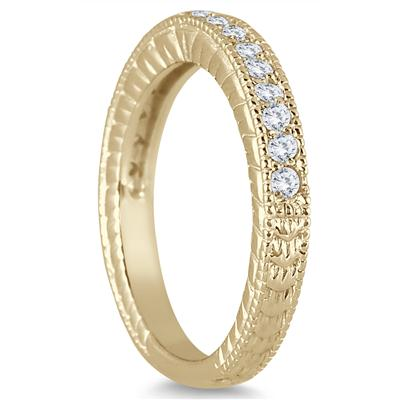 1/3 Carat TW Diamond Engraved Antique Styled Ring in 10K Yellow Gold