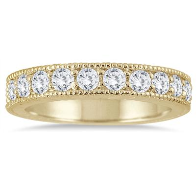 3/4 Carat TW Diamond Engraved Antique Styled Channel Ring in 10K Yellow Gold