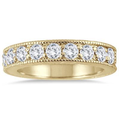 1 Carat TW Diamond Engraved Antique Ring in 10K Yellow Gold