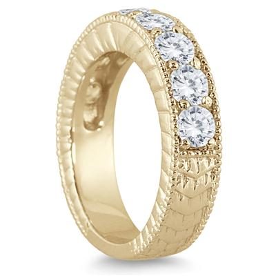 1 1/2 Carat TW Diamond Engraved Antique Ring in 10K Yellow Gold