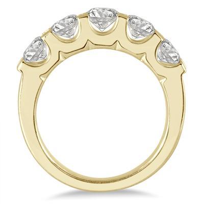 2 Carat TW Five Stone Diamond Wedding Band in 14K Yellow Gold