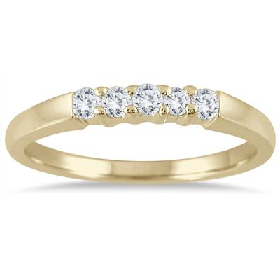 1/4 Carat TW Five Stone Diamond Wedding Band in 10K Yellow Gold
