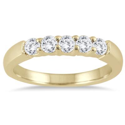 1/2 Carat TW Five Stone Diamond Wedding Band in 10K Yellow Gold