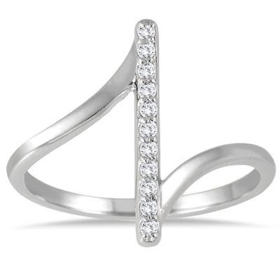 1/8 Carat TW Diamond Bar Ring in 14K White Gold