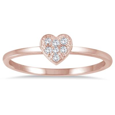 Stackable Diamond Heart Ring in 14K Pink Gold