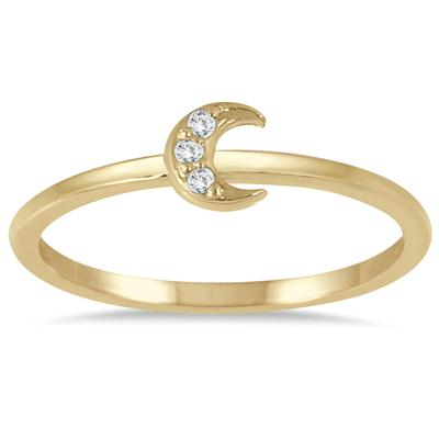 Stackable Diamond Crescent Moon Ring in 14K Yellow Gold
