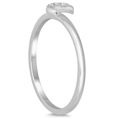 Stackable Diamond Crescent Moon Ring in 14K White Gold