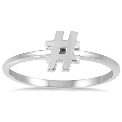Stackable Hashtag Ring in 14k White Gold