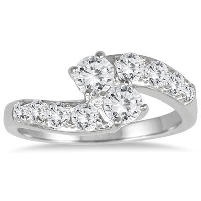 1 Carat TW Two Stone Diamond Ring in 10K White Gold